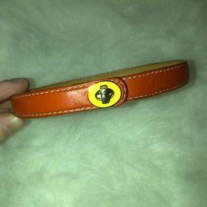 Coach Orange Leather Double Wrap Bracelet Yellow